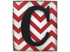 Red & White Chevron Plaque with Black Letter - C