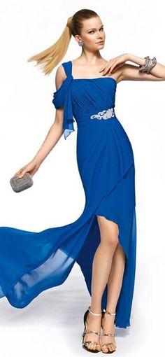 Customizable Cayman Blue Shoulder Cap Sleeve Prom Dress aea2e0976