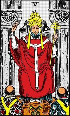 The Hierophant is sometimes labelled as The Pope, and symbolizes organized religious teachings.