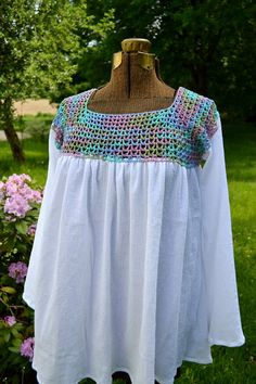 Beach Coverup Crochet Pattern Peasant Style Blouse by LazyTcrochet, $5.00