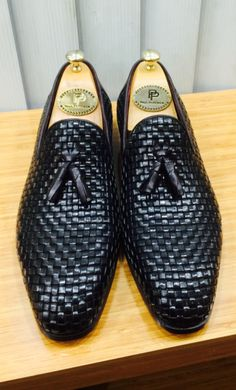Paul Parkman Tassel Loafers Black Woven Leather