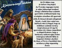 Karácsonyi áldás Xmas, Christmas, Blessings, Advent, Prayers, Blessed, Merry, Bible, Biblia
