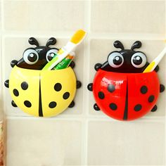 Cheap toothbrush and toothpaste case, Buy Quality rack shop directly from China toothbrush disinfector Suppliers: Cute Animal Ladybug Creative Toothbrush Holder Baby Cartoon Gecko frog Toothbrush Wall Suction Hanger baby Toothbrush Rack Suction Toothbrush Holder, Wall Mounted Toothbrush Holder, Toothbrush And Toothpaste Holder, Baby Toothbrush, Teeth Health, Healthy Teeth, Oral Health, Dental Health, Bathroom Accessories Sets