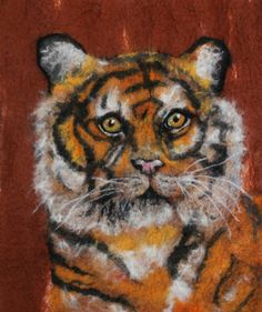 Copper Tiger Felted Picture by GardenGalleryDerbys on Etsy