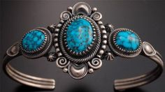 Blue Kingman Turquoise Silver Bracelet by Derrick Gordon - SP12F | Three gorgeous Turquoise stones are set on and among matte silver in this piece!