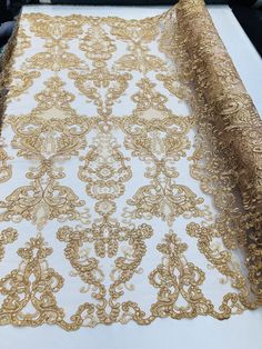 Floral – Gold – Embroided Lace Fabric Damask Pattern – Beautiful Fabrics Sold by The Yard – 2019 - Lace Diy Gold Lace Fabric, Embroidered Lace Fabric, Mesh Fabric, Fabric Flowers, Damask Tablecloth, Tablecloths, Event Decor, Fabric Patterns, Floral Patterns