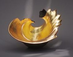 Artist Kay Lynne Sattler draws inspiration for her original sculptural clay and abstract paintings from the enduring and ephemeral forms of nature.hand built stoneware - pit fired - gilded with 23 krt gold leafH. Ceramic Clay, Ceramic Pottery, Texture Painting, Gold Leaf, Precious Metals, Decorative Bowls, Decorative Accents, Accent Decor, Stoneware