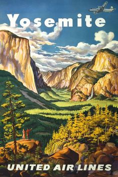 Vintage Yosemite and United Air Lines Travel Poster