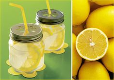Lemon top lids make a cute glass of lemonade ~ Edible crafts