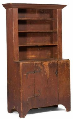 New England Pine Step-Back Cupboard