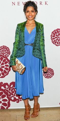 05/10/13: Freida Pinto brightened up the room at a Barney's bash for The Maiyet Varanasi Silk Capsule Collection in a vibrant ensemble and leather accessories. #lookoftheday