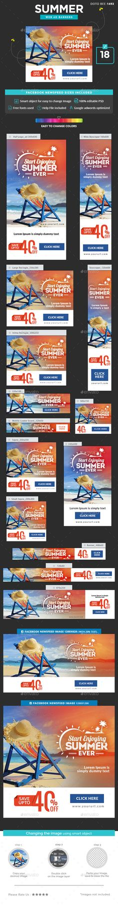 Summer Sale Banners Template PSD #ads Download here: http://graphicriver.net/item/summer-sale-banners/16692221?ref=ksioks