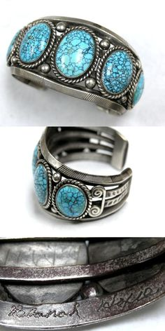 https://flic.kr/p/8rJ3Et | John Hoxie  | Navajo bracelet made by John Hoxie. Has his wife's name inscribed in the inside of the cuff, Blanch Hoxie. Also, has her initials with the year 1948. Number Eight Turquoise.
