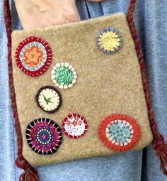 Felted Wool Shoulder Bag by BettyJanesTreasures on Etsy, $26.00