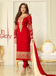 Red Indian Punjabi salwar kameez suit in brasso G15446