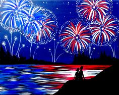 The of July is right around the corner! You can practically hear the fireworks in Red White and Boom! The of July is right around the corner! You can practically hear the fireworks in Red White and Boom! Cute Canvas Paintings, Diy Canvas Art, Acrylic Painting Canvas, Diy Painting, Painting & Drawing, Painting Abstract, Firework Painting, Summer Painting, Voss