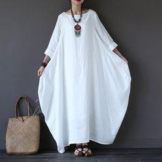 Women printing cotton linen loose dress