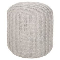 Check out this item at One Kings Lane! Madison Cable Pouf, Oyster Gray