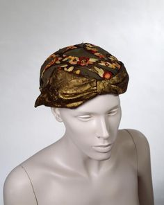 Hat ca. 1930s Hats, 1930s Fashion, Metallic Thread, Victoria, France, Gallery, Mesh, Artwork, Cotton