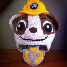 Crochet Paw Patrol hat and felt badge (part of a handmade Rubble Halloween costume) by DeeAnimals (Deanna Croteau) www.facebook.com/deeanimals