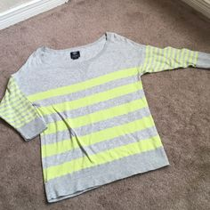 Grey & Bright Yellow Sweater Soft & comfortable, no signs of wear.  Really cute! American Eagle Outfitters Sweaters Crew & Scoop Necks