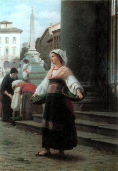 Venditrice di verdura, collezione privata, Raffaele Casnedi, pittore
