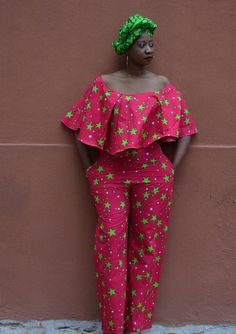 Ankara red and green stars jumpsuit/romper with pockets