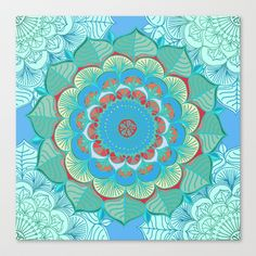 In Full Bloom - detailed floral doodle in blue, green & red Stretched Canvas by Micklyn - $85.00