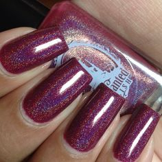 MR BURGUNDY - ENCHANTED POLISH: a berry-burgundy linear holo polish - opaque in two coats.