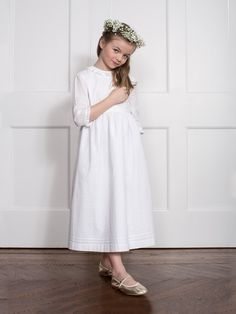 Classic Soft White Mini Pin-Tuck Empire Communion Dress with Beige Satin Ribbon from childrenchic