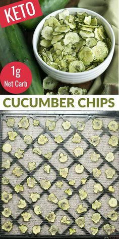 Easy to make baked salt and vinegar baked cucumber chips are a healthier low carb snack. And, they are low in calories which makes them almost guilt-free. Healthy Low Carb Snacks, High Protein Snacks, Keto Snacks, Appetizer Recipes, Snack Recipes, Appetizers, Cucumber Chips, Zucchini Chips Recipe, Vegetable Chips