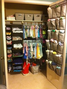 Clever Nursery Organization Ideas from Project Nursery - love the idea of baskets hung from the wall next to the changing table!
