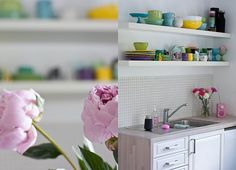 i'm obsessing over open shelving in kitchens Happy Kitchen, Open Shelving, My Dream Home, Home Kitchens, Floating Shelves, Kitchen Dining, Sweet Home, Interior, House