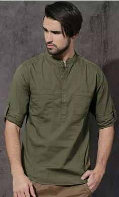 Smart Casual Outfit, Casual Wear For Men, Casual Shirts For Men, Latest Kurta Designs, Mens Kurta Designs, Mens Shalwar Kameez, Chinese Shirt, Boys Kurta Design, Estilo Tomboy