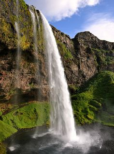 Seljalandsfoss, waterfall at the base of Eyjafjall volcano, Iceland.
