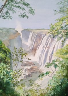 """Victoria Falls"" 11x14 watercolor by Leslie White, trailheadstudios.com"
