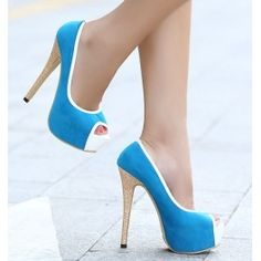 Blue Platform peep toe sexy color blocked ladies high heel $29.99