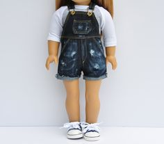 Dark wash destroyed denim overalls by LoriLizGirlsandDolls on Etsy. Made following a modified version of the Oh My Gosh Overalls pattern, found here http://www.pixiefaire.com/products/oh-my-gosh-overalls-18-doll-clothes. #pixiefaire #ohmygoshoveralls