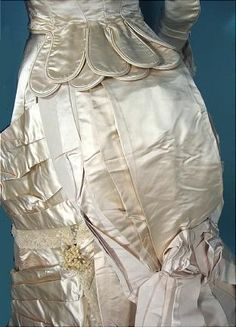 1880 M.A. CONNELLY, 7 East 16th Street, New York Ivory Silk Satin Bustle Wedding Gown Ensemble! With Wax Headpiece, Bustle Cage, 2 Petticoats, New Bustle Pad and Veil!