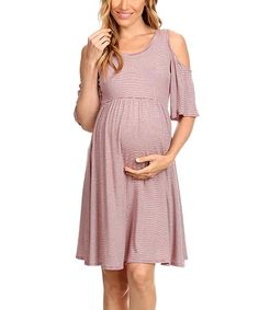 ac1d9f62064 Chris   Carol Maternity Chris   Carol Wine   Ivory Stripe Maternity  Cold-Shoulder Dress