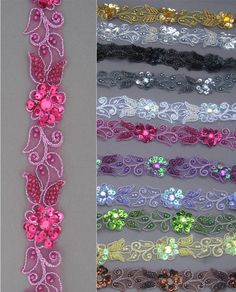 "Handmade Floral Corded beaded Edging Motif trim 1""width ( Available 12 Col ) #1d £4.29"
