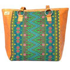 Sac Caba Ethnique Coloré modèle TIKAL, cuir marron, huipil et tissu vert, modèle unique, fait main, handmade, Guatemala