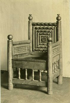 The Baldishol Chair. Moved to Baldishol after the church was moved there in 1613.