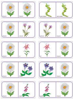 Domino KWIATY deska 4 Flower Activities For Kids, Spring Activities, Infant Activities, Crafts For Kids, Spring Theme, Classroom Crafts, Plantation, Pattern Blocks, Flower Crafts