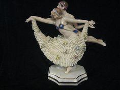 RARE Sitzendorf Dresden Germany Art Deco Art Nouveau German Porcelain Figurine