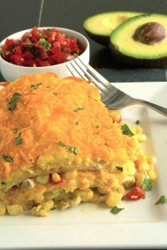 Layers of scrambled eggs, corn salsa, cheese and tortillas make this a…