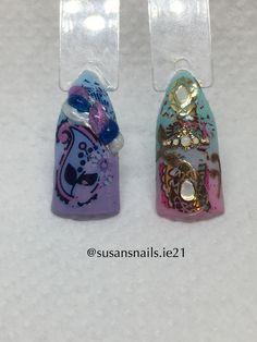 Nail art - lilac, blue & pink designs