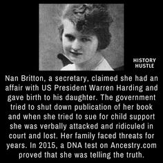 Nan Britton and Warren Harding - 10 Unbelievable History Facts You Really Need to See Weird History Facts, Black History Facts, Strange History, Wtf Fun Facts, Strange Facts, Women In History, British History, Asian History, Tudor History