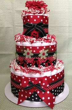 Trendy Purple Ladybug Diaper Cake for Child Bathe Centerpiece and New Child Present by way of.... *** See even more by going to the photo link