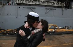 It's a time-honored tradition at Navy homecomings – one lucky sailor is chosen to be first off the ship for the long-awaited kiss with a loved one. Today, for the first time, the couple was gay. By Corinne Reilly The Virginian-Pilot © December 2011